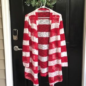 Super cute open weave sweater in red and white!